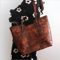 Wholesale Casual Ladies Handmade Bags - Wholesale-High Quality Handmade Vintage Women Single One Shoulder Bag Engraving Flower Embossed Design Genuine Leather Ladies Tote Handbag