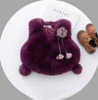 Wholesale Girls Purple Fur Coat - Baby Kids waistcoats Girls faux fur stereo flowers outwers Infants Pendant Pompons sleeveless coats Girls vest winter kids clothing