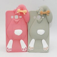 Wholesale Silicone S4 - 3D Cartoon Bunny Back Cover Case For Samsung Galaxy S3 S4 S5 S6 S7 edge Note 7 Grand Prime Grand 2 Rabbit Silicone Rubber Cell Phone Shell