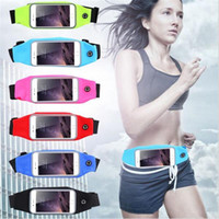Wholesale gym cell phone holder resale online - Sports Outdoor Gym Waist Cell Phone Case For iPhone s Plus Screen Card Holder Earphone Hole Belt Running Wallet Bags