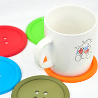 Wholesale Orange Coasters - Wholesale- Big Button Silicone Coaster Fun Novelty Design Kitsch Retro Drinks Placemat - Orange