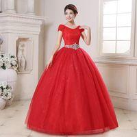 Wholesale Short Organza Wedding Dresses - Wedding Dress The Bride Red Elegant O-neck Classic Lace Short Sleeve Luxury Ball Gown Noble Bridal Dress Vestido De Novia