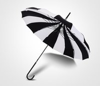 Wholesale Windproof Umbrella Golf - Black And White Striped Golf Umbrellas Long-handled Straight Pagoda Umbrella Windproof Rain Umbrella
