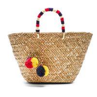 Wholesale Braided Handbag - Bohemian Beach Bag Straw Totes Bag Bucket Summer Bags Handmade Women Handbag Braided 2017 New High Quality Tassel Rattan Bag C96