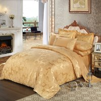 Wholesale Luxury Jacquard Sheets - Wholesale-Luxury 100% cotton bedding set embroidery bed linens satin bed sheet set jacquard bedclothes full queen king size bed cover.