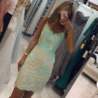 Wholesale mint green prom mini dress for sale - Group buy Mint Green Lace Short Prom Dresses V Neck Spaghetti Straps Sheath Mini Party Dresses Backless Short Evening Gowns