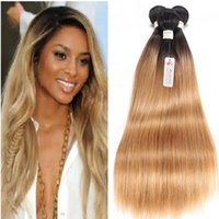 Wholesale Indian Hair Smooth - T1B 27 Dark Root Honey Blonde Straight Ombre Human Hair Weave 3 Bundles Brazilian Virgin Hair Extensions Soft and Smooth Hair Fast Ship