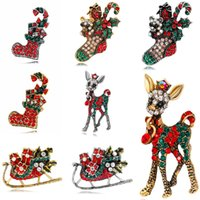 Wholesale Fashion Colorful Mental Gold silver Christmas deer Brooch Christmas Girl Women Christmas skateboard Jewelry Gifts Brooch