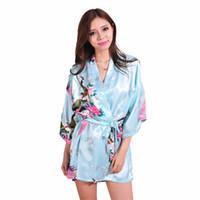 Wholesale Chinese Ladies Dresses - Wholesale- Light Blue Silk Rayon Robe Dress Chinese Lady Sexy Mini Nightgown Bathrobe Vintage Kimono Yukata Gown Plus Size XXXL RB1030