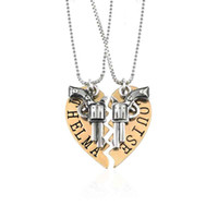 Wholesale Bitch Gifts - Thelma and Louise Necklace Silver Gold Broken Heart Gun Pendant Chains for Women Best Friends Best Bitch Fashion jewelry DROP SHIP 161761