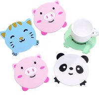 Wholesale Pig Cups - Wholesale- 1PC Animal Pattern Silicone Cup Drinks Holder Mat Tableware Placemat heat resistant coaster Pig kitty panda  frog design sale