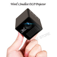Wholesale Hd Video Movies - Wholesale- Mini Cube DLP LED Projector, Portable Pocket Projector HD Video Pico with Built-in Battery & Audio Splitter for Movie Video