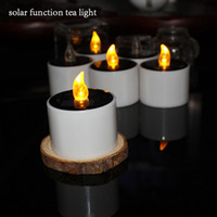 Wholesale Solar Energy Wholesale - Colorfull Solar Energy Operated Flicker Solar Tealight Tea Candles Light for Wedding Birthday Party Festival Decorating Wholesale 3002035