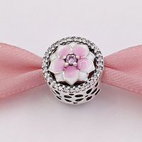 Wholesale European Charms Numbers - Authentic 925 Sterling Silver Beads Magnolia Bloom Charms Fits European Pandora Style Jewelry Bracelet Necklace