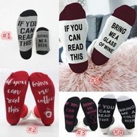 Wholesale Print Reading Glasses - New If You Can Read This Bring Me A Glass of Wine Beer Letter Print Stylish Cotton Socks Female Thermal Warm Christmas Socks