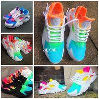 396db9f2aa85 huaraches arco iris blancos al por mayor-2018 New Air Huarache Rainbow Sky  Blue Zapatillas