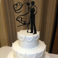 Wholesale Bride Groom Cake Toppers - Wholesale- Acrylic The Bride& Groom Funny Wedding Cake Decorations Personalized Wedding Cake Decorating Cake Topper OH011