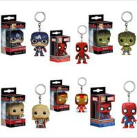 Wholesale bat rings - 7 Design Children Avengers Captain America Iron Man Keychain New children Bat key ring kids PVC toys B