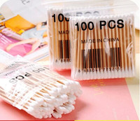 Wholesale Wood Cotton Swabs - 100 pieces Pack 7.4cm Double Head Wood Cotton Swabs Stick Buds Tip For Medical Cure Health Beauty Disposable Bud Repair Tools