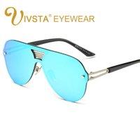 Wholesale Revo Sunglasses Women - Wholesale-IVSTA Steampunk Sunglasses Men Oversized Sunglasses Women Large Frame Glasses Big Revo Mirror Hipster Flat Lens Sunglasses 8051