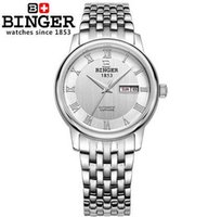 New Fashion Hot Sales Vintage Men Desconto relógios Weave Stainless Steel Bracelet relógios de pulso White Dail Binger Mechanical Automatic Watch