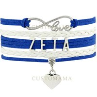 Wholesale Infinity Doves - (10 PCS Lot) Infinity Love Rhinestone ZETA 1920 Dove Charm Bracelet Blue White Wax Suede & Leather Bracelet Custom Any Themes