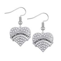 Wholesale Words Earrings - Fashion Crystal Heart Drop Earrings Word PHLEBOTOMIST PLEXUS POLE Heart Dangle Earrings Woman Jewelry Gift For Women