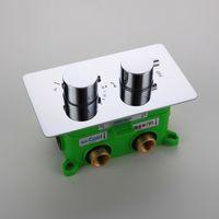 controladores de válvula al por mayor-Válvula mezcladora termostática de calidad 3 funciones Controlador de ducha Latón Cromo Válvula desviadora empotrada para baño empotrada con caja integrada