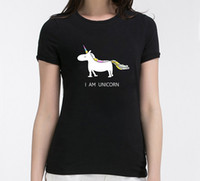 корейские футболки бренды оптовых-Wholesale- 2016 summer i am unicorn Print Women T-shirt fashion harajuku  korean tee shirt femme funny punk slim hipster black tops
