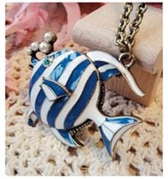 Wholesale Tropical Blue Necklaces - Wholesale- x82 Europe and America Fashion Vintage Necklace Wholesale Jewelry Blue Tropical Fish Sweater Chain