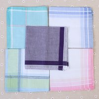 Wholesale Wedding Cotton Handkerchiefs - 20pcs  Lot Plain 29 *29cm Check Cotton Handkerchiefs Lady Men Women Wedding Hankies Square Paisley Hanky Womens Pocket Square
