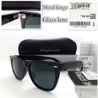 Wholesale Eyeglass Hinges - Luxury Top Quality 100% Glass Lens Metal Hinge Sunglasses For Men Women Vintage Classic Sun Glasses Plank Frame Eyeglasses With All Case A++