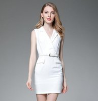 Wholesale cotton twill skirts - The new 2017 quality dress Fashion star with white sleeveless v-neck show thin vest skirt cultivate one's morality dress suit