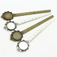 Wholesale Round Ruler - Sweet Bell two color Alloy Cameo Round flower ruler Bookmarks 28*138mm(Fit 20mm) Round Cabochon Settings A4214