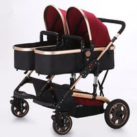 Wholesale Twin Prams Strollers - 2017 luxury Europe twins trolley baby pram double stroller high landscape can sit lie baby stroller Portable Foldable red blue free shipping