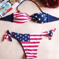 Wholesale Tube Bandeau Bikinis - Sexy Women Summer Stars And Stipes USA Flag Bikini Padded Twisted Bandeau Tube American Swimwear Sets