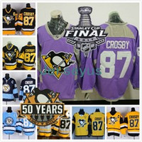 Wholesale 2017 Stanley Cup Final Patch Jersey Years Patch Pittsburgh Penguins Sidney Crosby Hockey Jerseys Home Black White Yellow Blue Purple
