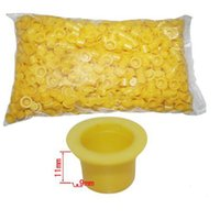 Wholesale Bag For Tattoos - Wholesale-1000pcs Bag 9mm Yellow Plastic Tattoo Ink Pigment Cap Cups Small Size For Tattoo Accessories Cleaning Products