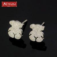 Wholesale Bear Stud Earring - Stainless steel earrings bear fashion rose gold bear pressure sand pop Earrings