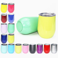 Wholesale Wholesale New Years Glasses - New 9 oz Stemless wine mugs 20 Colors Stainless Steel Double Layer Wine Glasses Beer Mugs Powder Coated Drinkware With Lids egg mug
