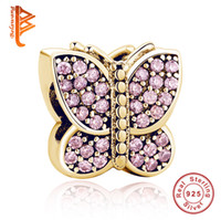 Wholesale Crystal Butterfly Bracelet Pink - BELAWANG Rose Gold Butterfly Shape Beads Pink Crystal Charm Beads 925 Sterling Silver Jewelry Accessories fit Pandora Charm Bracelets Making