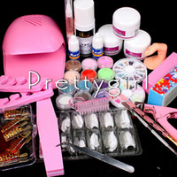 ingrosso kit inchiostro francese in polvere acrilica-All'ingrosso-Nail Nail Dryer Nail Kit acrilico liquido in polvere Cuticle Oil Pen Dish Buffer File Cutter Glue French Tips Nail Art Set Kit