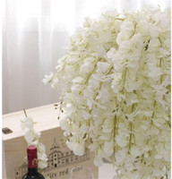 Wholesale Valentine Bouquets - DIY Artificial White Wisteria Silk Flower For Home Party Wedding Garden Floral Decoration Living Room Valentine Day Centerpieces Table