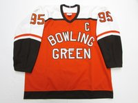 Дешевые пользовательские BOWLING GREEN FALCONS POWERS # 95 ORANGE CCM HOCKEY JERSEY ORANGE Throwback майки