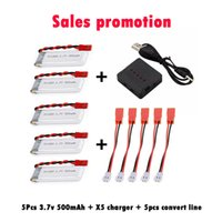 Wholesale Rc Helicopter Battery Chargers - HOT SALE 5pcs 3.7V 500mAh Li-Polymer Battery + X5 5 in 1 Charger + 5pcs convert line For RC Quadcopter Mini Drone Li-Po charger