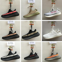 Wholesale Zebra Flat Shoes Women - 12 Color SPLY 350 V2 boost Shoes CP9366 triple white Zebra UV light Kanye west sneakers Men Women Running Shoes US5-US13