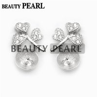 5 Pairs Clover Heart Earring Settings 925 Sterling Silver Zircon Stud Earrings Semi Mounting for DIY