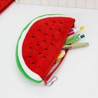 Wholesale Watermelon Pen Case - 1PC School Supplies Big Volume Plush Watermelon Pencil Bag Stationery Storage Bags