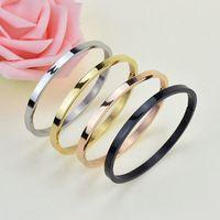 Wholesale Golden Bracelet Cuff - Classic Titanium Steel Rose Golden Bracelet Smooth Bangles Cuff Wristband Couples Jewelry Gift