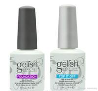 Wholesale Led Gel Primer - 300pcs High quality Soak off color led & uv gel nail polish Gelish gel glue nail art primer foundation base coat+top coat